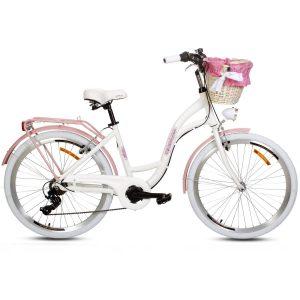 Retro bicykel hliníkový GOETZE MOOD bielo ružový
