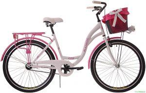"""Retro bicykel KOZBIKE 26"""" 1 prevodový ružovo-biely 2019"""