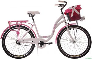 """Retro bicykel KOZBIKE 28"""" 3 prevodový ružovo-biely 2019"""
