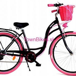 """Retro bicykel dámsky 28"""" 6 prevodový ružovo-Čierny 2019"""