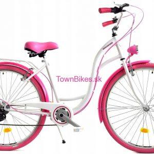 """Retro bicykel dámsky 28"""" 6 prevodový ružovo-biely 2019"""