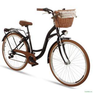 Retro bicykel hliníkový GOETZE MOOD čierno-hnedý