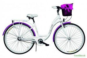 """Retro bicykel jednoprevodový bielo fialový 28"""" s oceľovým košíkom 2019"""