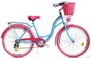 """Retro bicykel dámsky 26"""" 6 prevodový ružovo modrý 2019"""