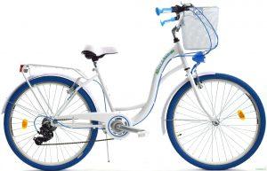 """Retro bicykel dámsky 26"""" 6 prevodový bielo modrý 2019"""