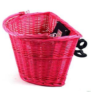 Prútený košík na retro bicykel ružový 2