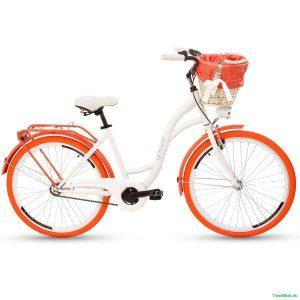 """Retro bicykel GOETZE COLOURS 26"""" jednoprevodový bielo-oranžový 2019"""