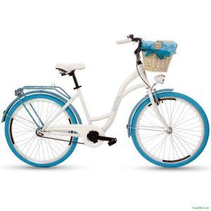 """Retro bicykel GOETZE COLOURS 26"""" jednoprevodový bielo-modrý 2019"""