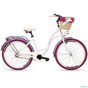 """Retro bicykel GOETZE COLOURS 26"""" jednoprevodový bielo-fialový 2019"""