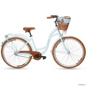Retro bicykel GOETZE STYLE modrý hnedé kolesá