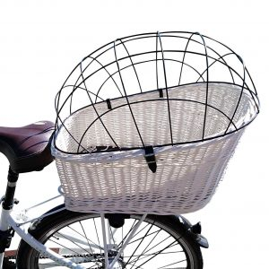 Prútený košík pre psa na zadný nosič biely