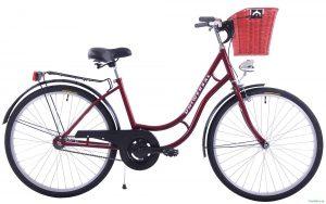 """Retro bicykel dámsky mestský 26"""" 1 prevodový bordový s prúteným košíkom 2"""