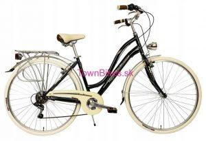 """Retro bicykel dámsky hliníkový čierno krémový 28"""" 6 prevodový ITALIA 2019"""