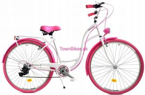 """Retro bicykel dámsky 26"""" 6 prevodový ružovo-biely 2019"""