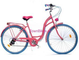 """Retro bicykel dámsky 28"""" 6 prevodový ružovo-modrý 2019"""