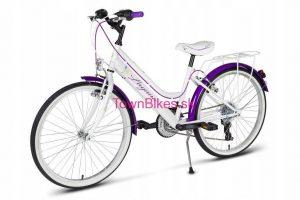 """RETRO bicykel detský 24"""" 18 prevodový bielo fialový 2019"""