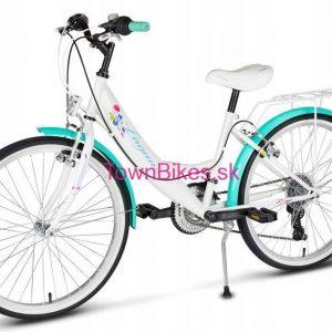 """RETRO bicykel detský 24"""" 18 prevodový bielo zelený 2019"""
