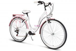"""Retro bicykel VELLBERG 28"""" 6 prevodový bielo-ružový 2019"""
