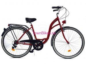 """Retro bicykel dámsky 26"""" 6 prevodový bordový 2019"""