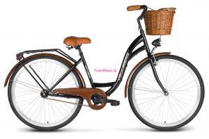 """RETRO bicykel štýlový VELLBERG 28"""" 1 prevodový čierno-hnedý + prútený košík"""
