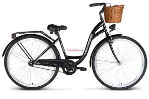 """Retro bicykel dámsky mestský VELLBERG 26"""" 1 prevodový čierny + prútený košík"""