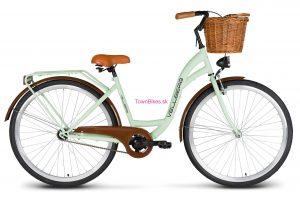 """Retro bicykel dámsky mestský VELLBERG 26"""" 1 prevodový pistácia + prútený košík"""