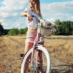 Retro bicykel LAVIDA ružovo-biely