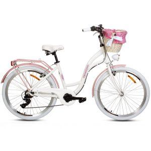 Retro bicykel GOETZE MOOD hliníkový bielo-ružový (Kópia)