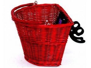 Pútený košík červený na Retro bicykel