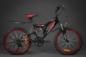 Detský bicykel celo-odpružený MEXLLER čierno-červený 5+