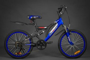 Detský bicykel celo-odpružený MEXLLER čierno-modrý 5+