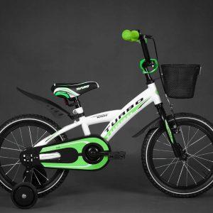 Detský bicykel TURBO bielo-zelený 4+