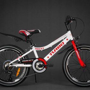 Detský bicykel TURBO bielo-červený 5+