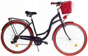 Retro bicykel DALLAS čierno-červený + košík ZDARMA