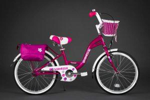 Detský bicykel VANESSA ružový 5+ s košíkom a taškou